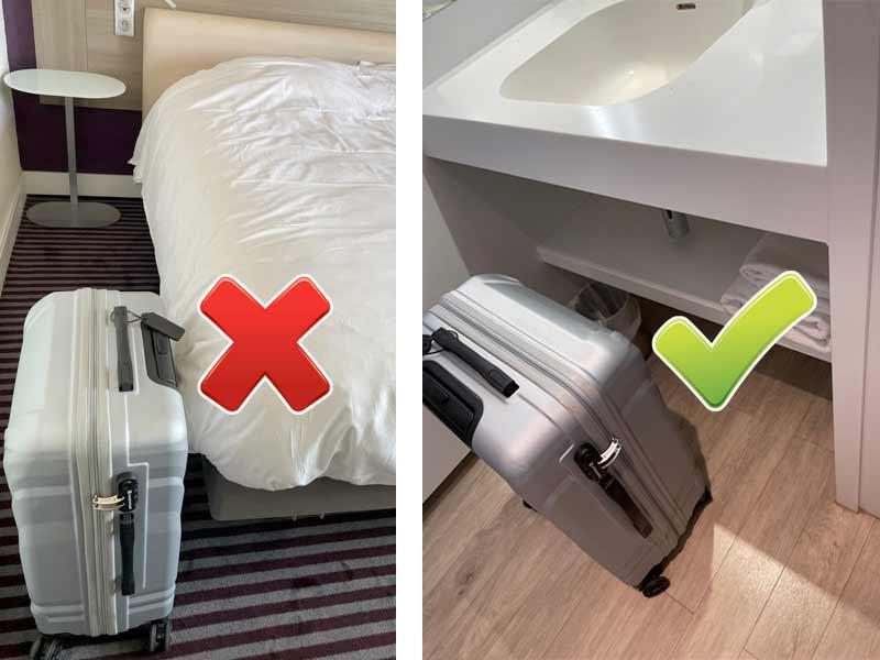 déposer valises salle de bain hôtel pour contrôler punaises de lit dans la chambre